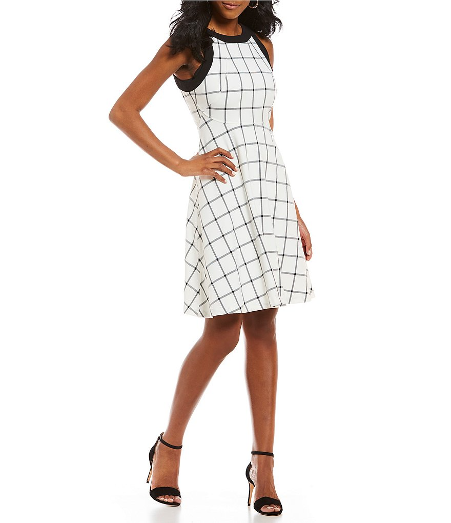 Ivanka Trump Windowpane Plaid Fit-and-Flare Dress