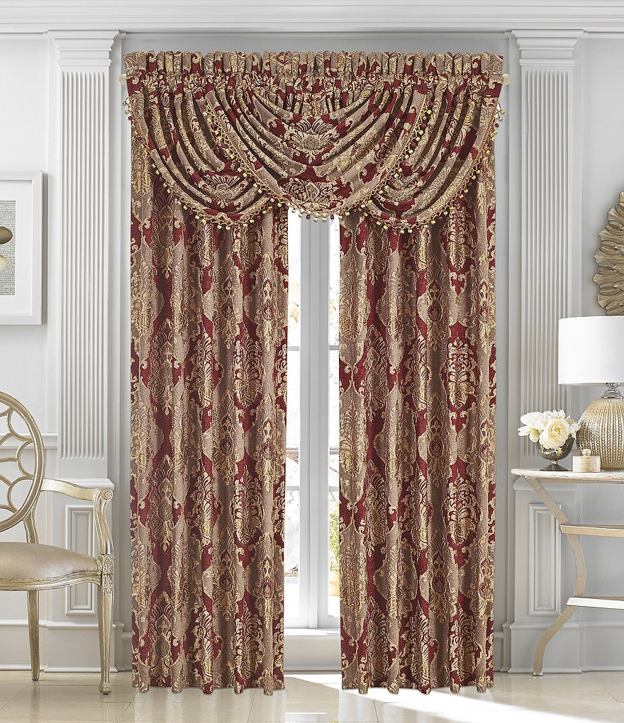 J. Queen New York Crimson Damask Window Treatments