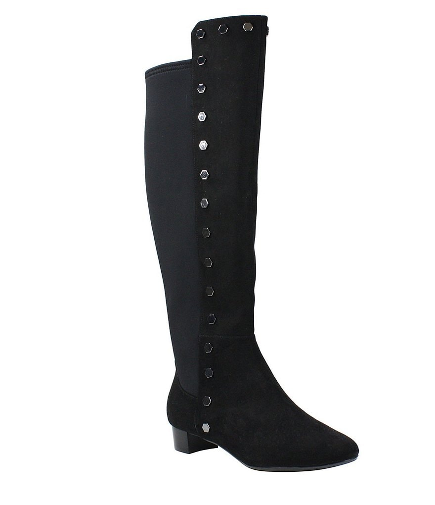 J. Renee Brynnah Suede Studded Block Heel Tall Boots