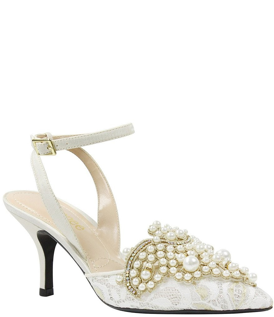 J. Renee Desdemona Floral Mesh Pearl Ornament Ankle Strap Pumps
