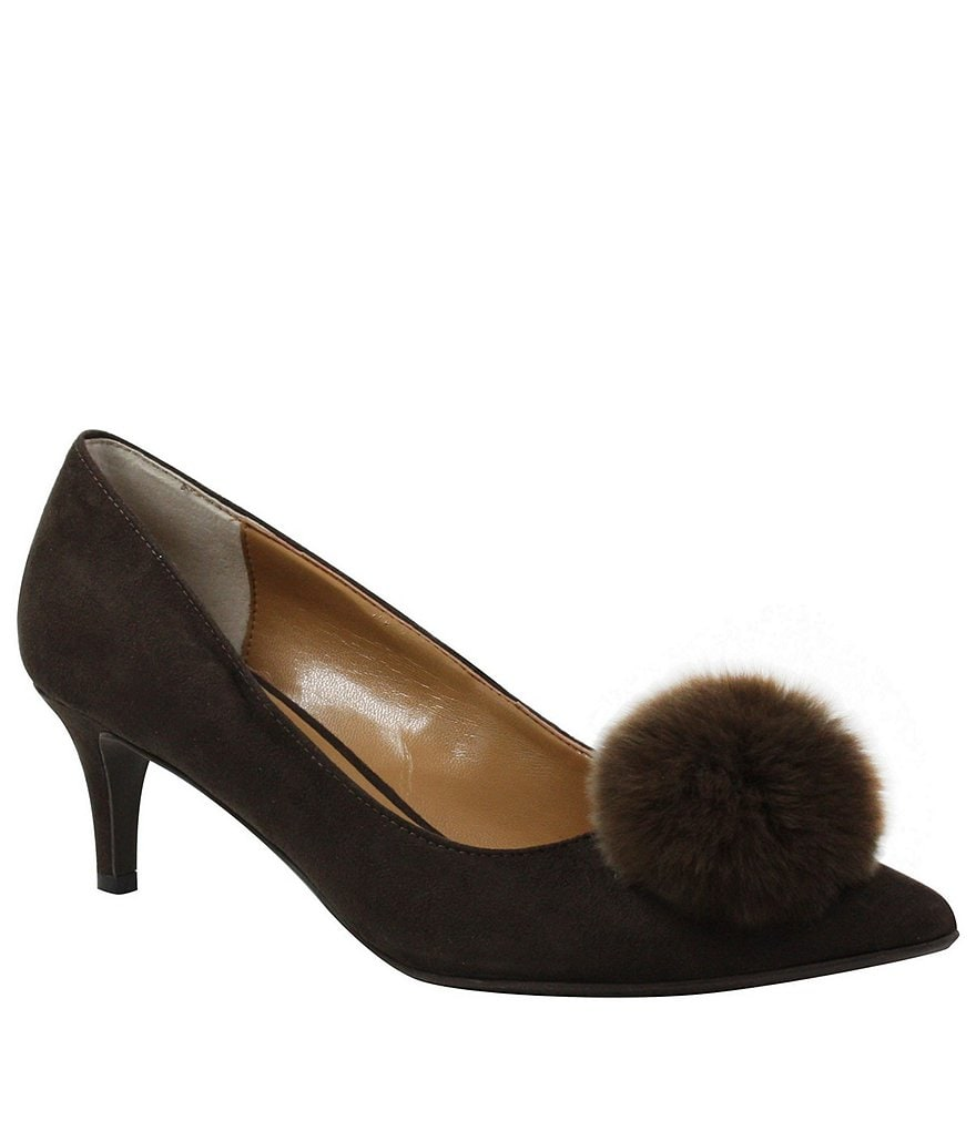 J. Renee Elisabet Suede Rabbit Fur Pom Pom Pumps