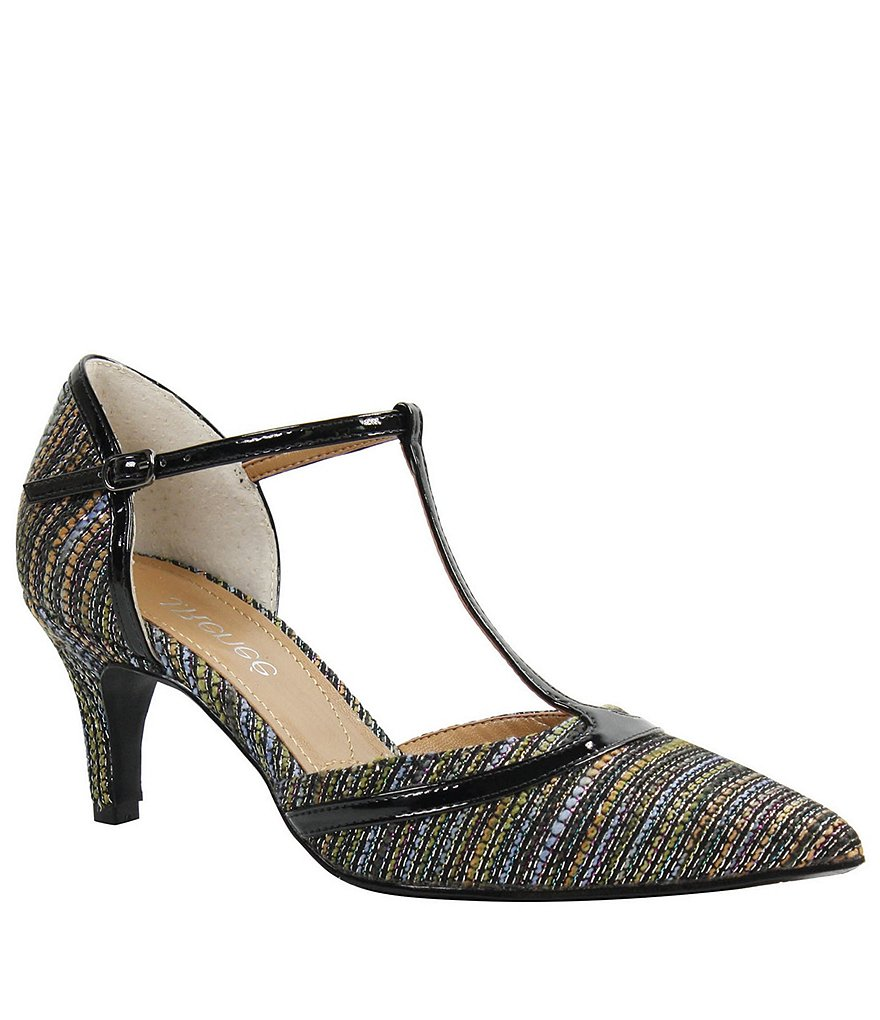 J. Renee Emiliana Metallic Woven Mary Jane d'Orsay Pumps