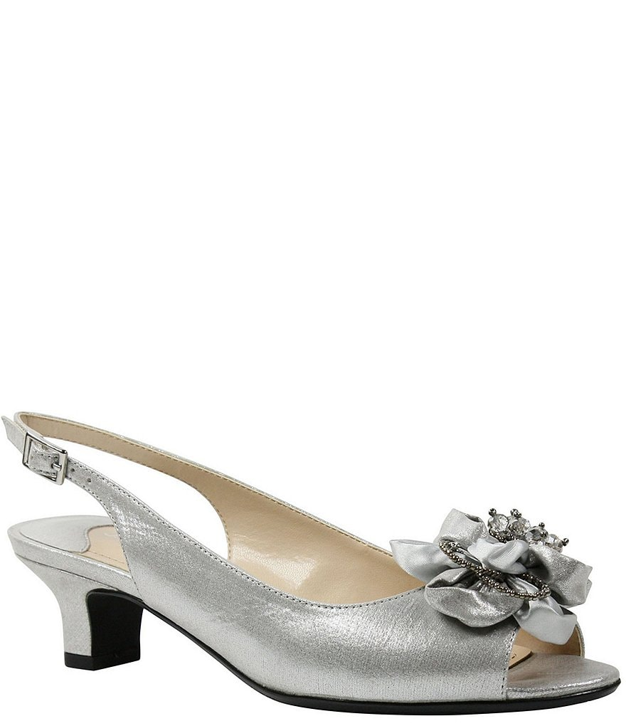 J. Renee Leonelle Embellished Bow Slingback Peep Toe Pumps