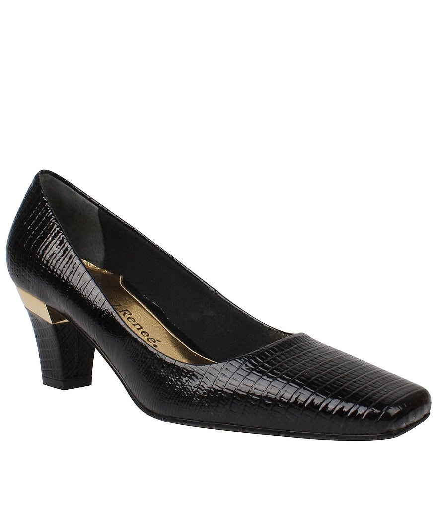 J. Renee Mary Lizard Kitten-Heel Pumps
