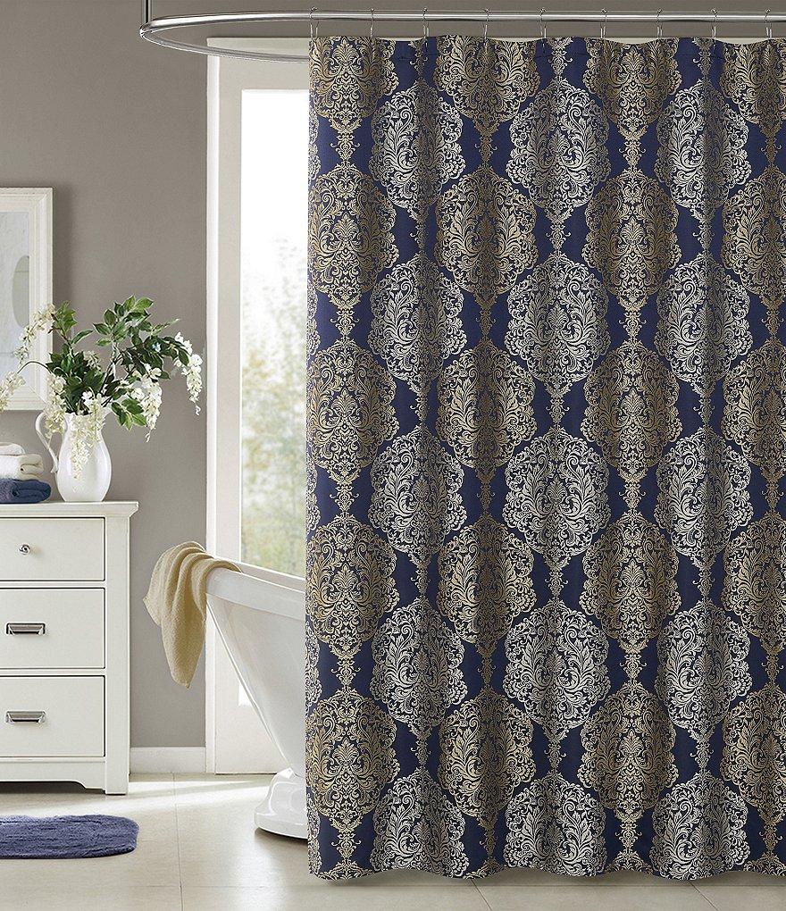 J Queen New York Blu Constance Shower Curtain