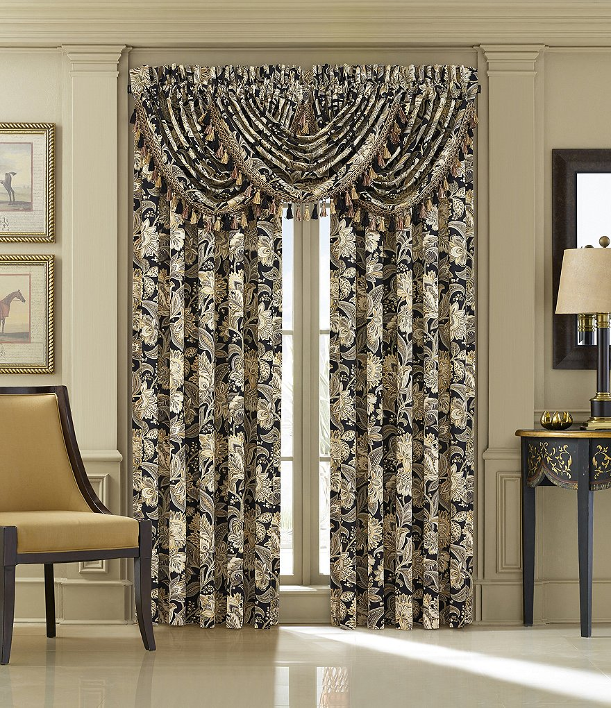 J. Queen New York Midnight Mist Jacobean Floral Window Treatments