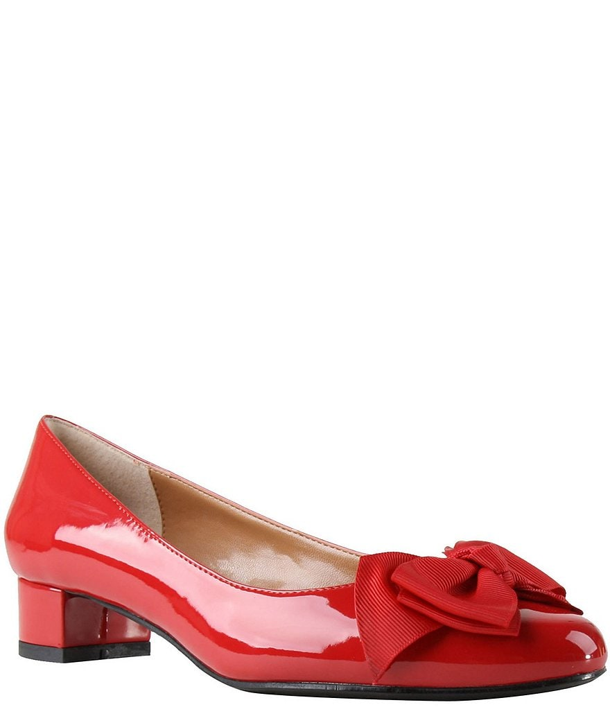 J. Renee Cameo Patent Bow Detail Block Heel Pumps