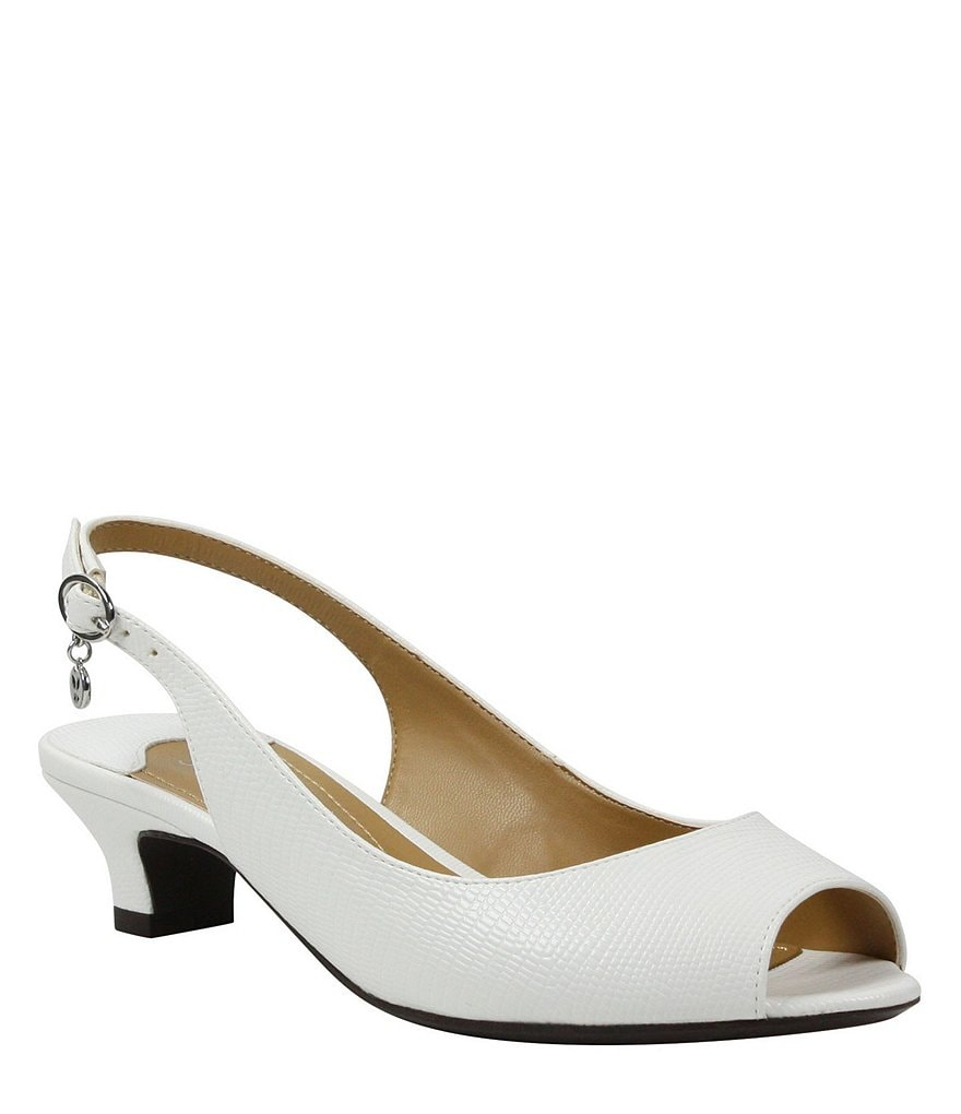 J. Renee Jenvey Lizard Print Sling Pumps