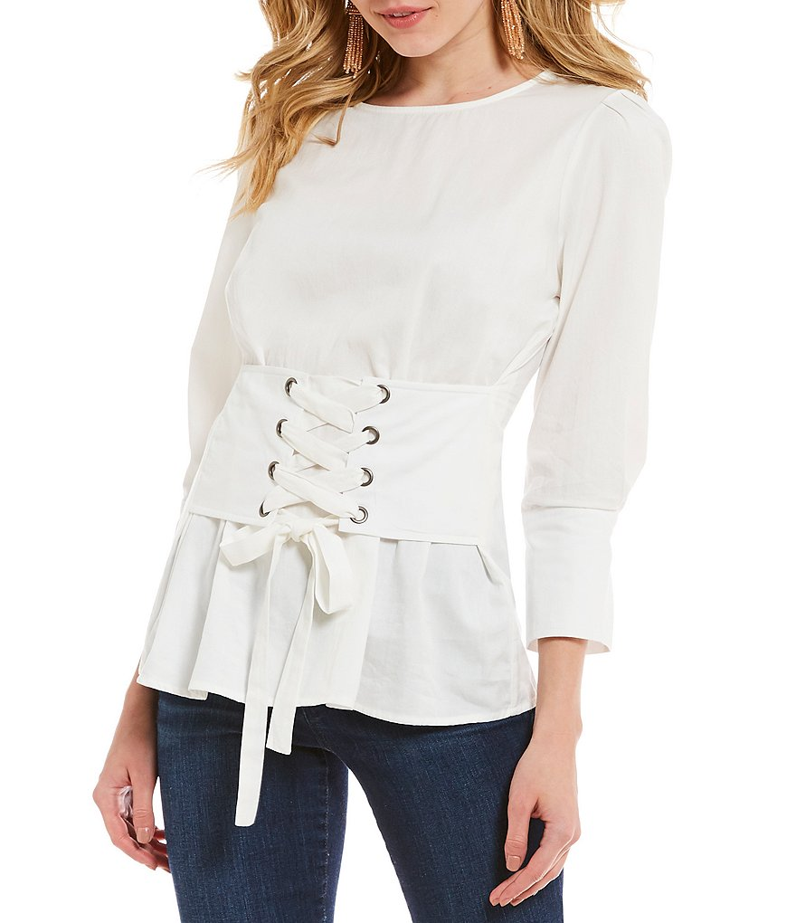J.O.A. Laced Corset Woven Novelty Shirting Top