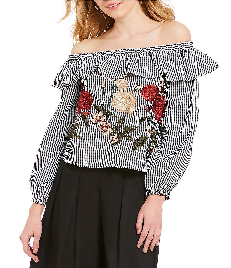 J.O.A. Ruffled Off The Shoulder Gathered Sleeve Embroidered Gingham Peasant Top