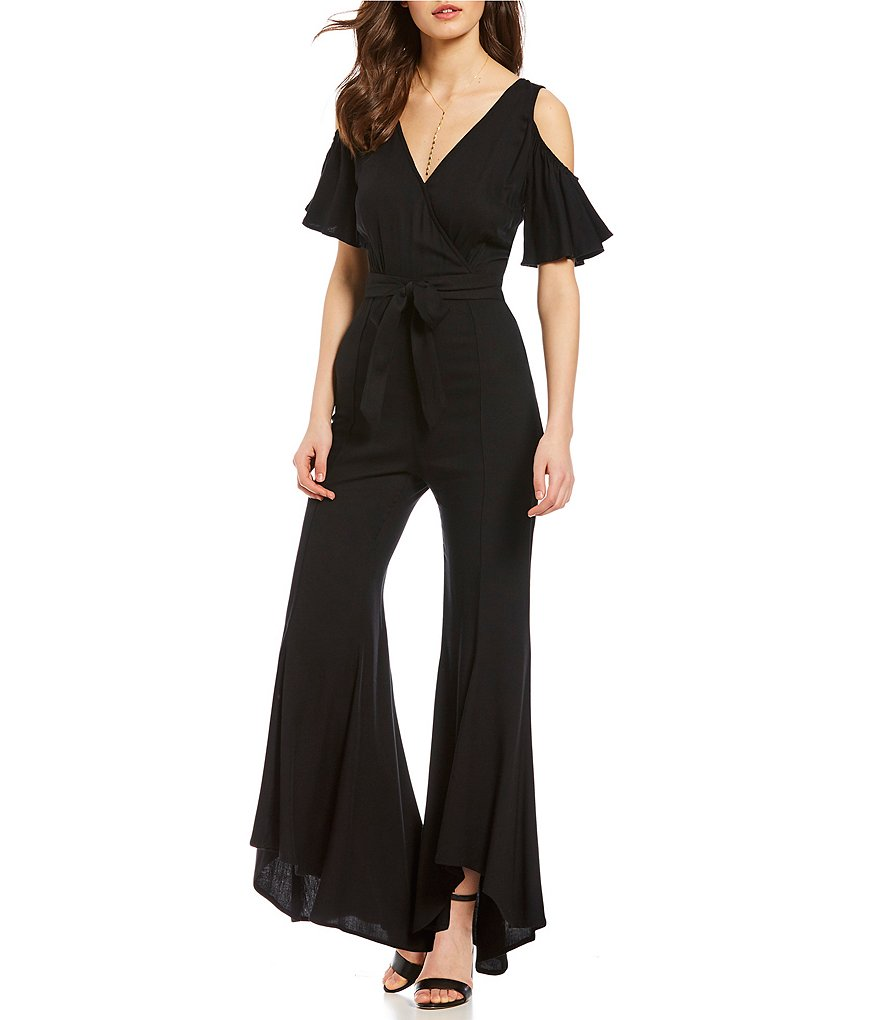 Jack by BB Dakota Sade Cold Shoulder Ruffle Sleeve Tie Waist Jumpsuit