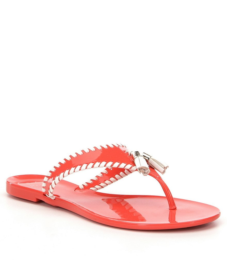 Jack Rogers Alana Jelly Leather Whiplacing Tassel Sandals