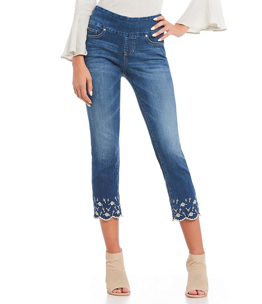 Jag Jeans Lewis Pull-On Straight Leg Embroidered Scalloped Hem Crop Jeans