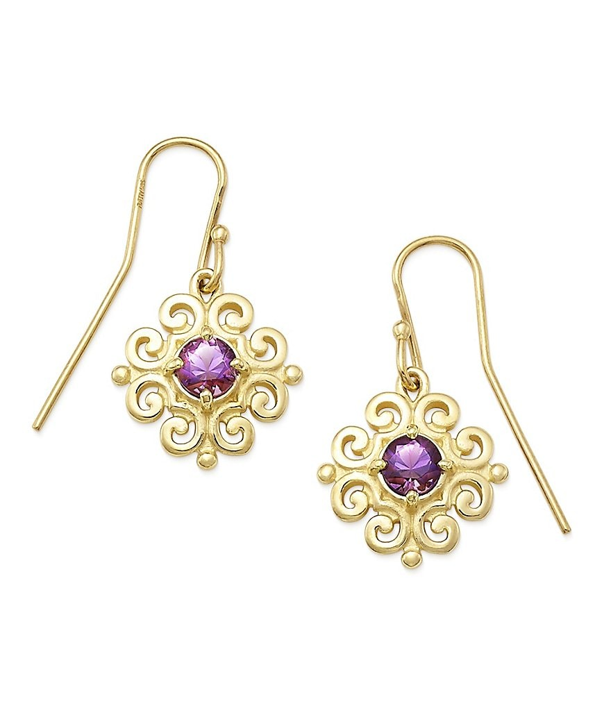 James Avery 14K Gold Scrolled Ear Hooks with February Birthstone