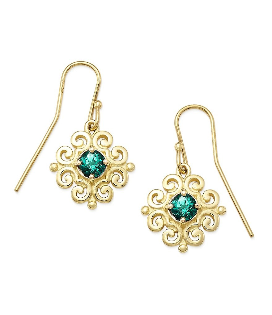 James Avery 14K Gold Scrolled Ear Hooks with May Birthstone
