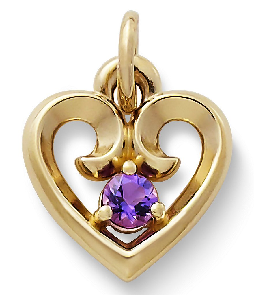 James Avery Avery February Amethyst Birthstone Remembrance Heart Pendant