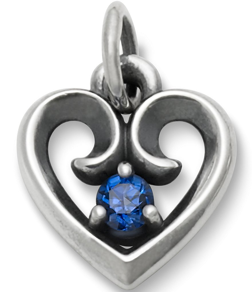 James Avery Avery Remembrance Heart Pendant September Birthstone with Lab-Created Blue Sapphire
