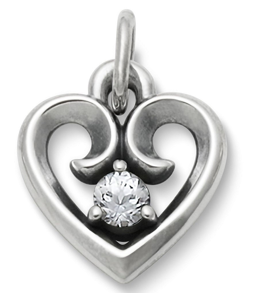James Avery Avery Remembrance Heart Pendant April Birthstone with Lab-Created White Sapphire