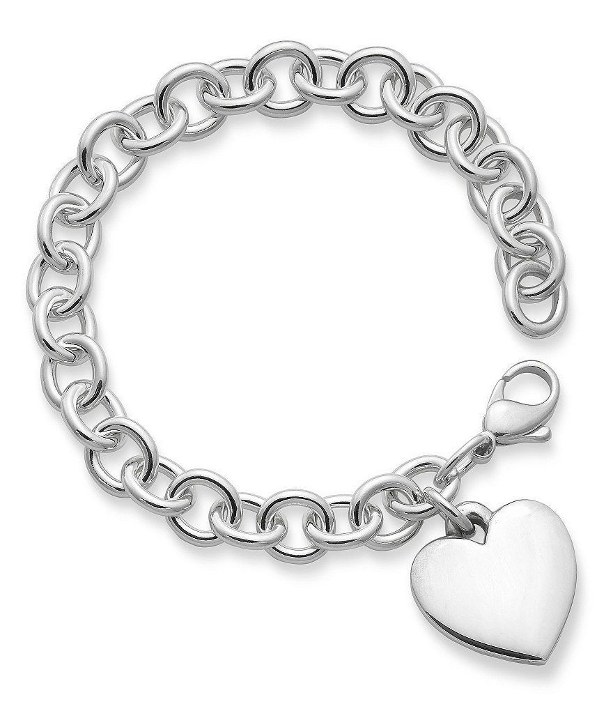 James Avery Clic Sterling Silver Cable Bracelet With Heart Charm