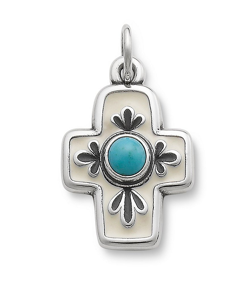James Avery Enamel Floral Mission Cross with Turquoise Pendant