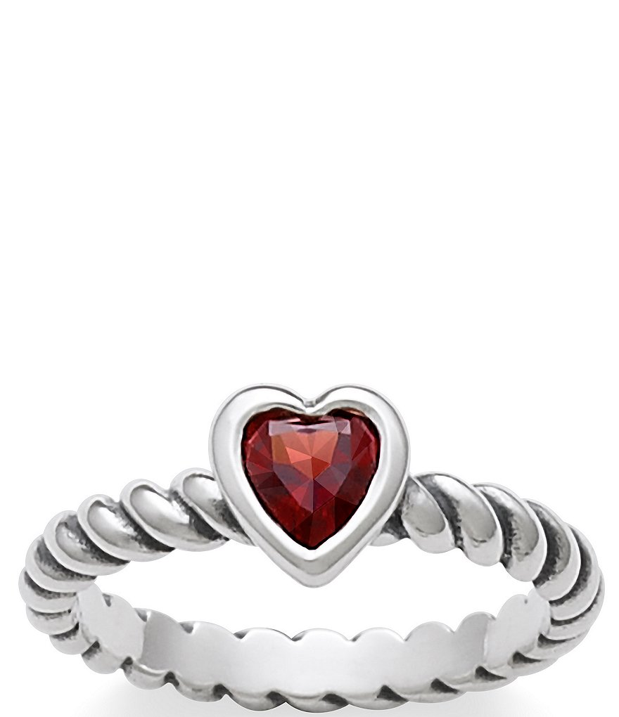 James Avery Heart with Garnet Twisted Wire January Birthstone Ring