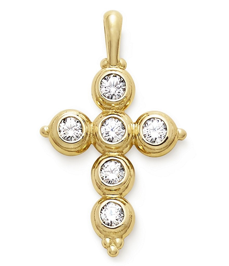 James Avery 14K Gold Antiquity Cross Pendant with Diamonds