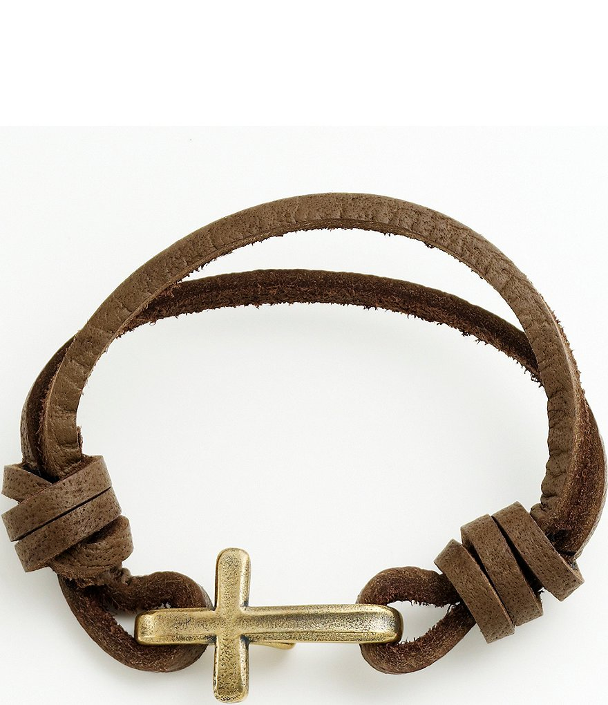 James Avery Bronze Cross Hook-On Leather Bracelet