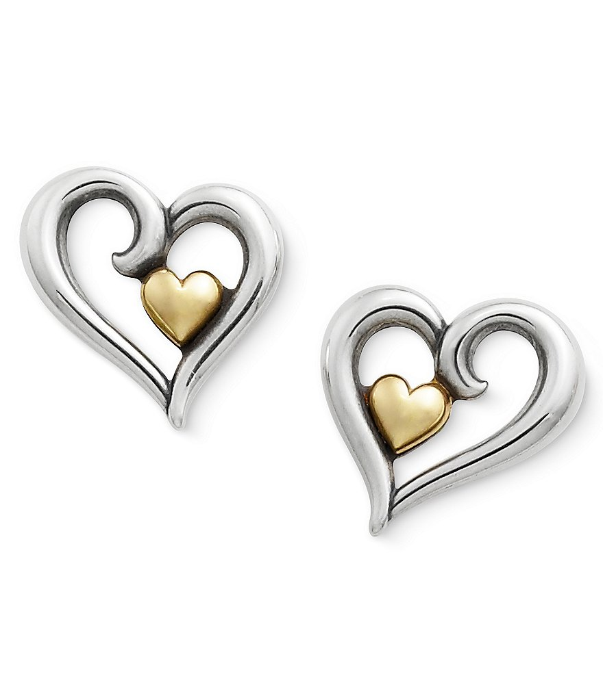 James Avery Joy of My Heart Sterling Silver and Gold Earrings