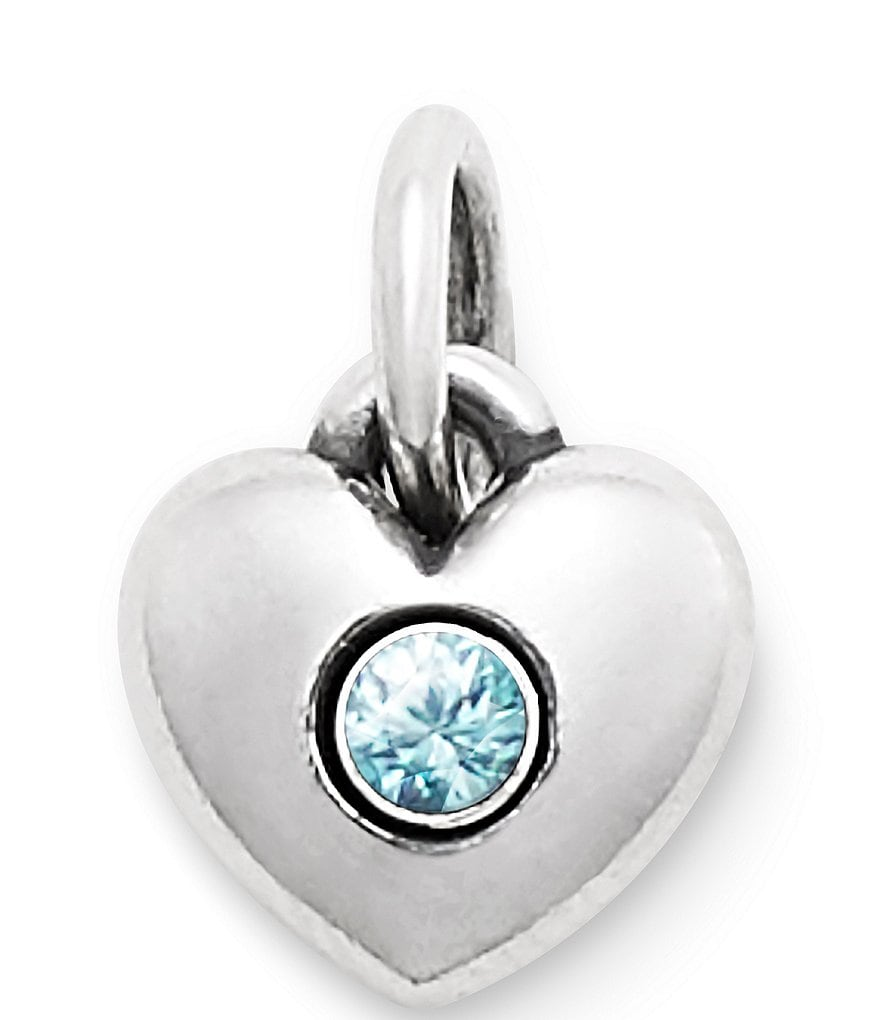 James Avery Keepsake Heart Charm December Birthstone with Blue Zircon
