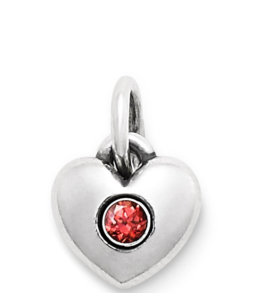 James Avery Keepsake Heart Charm January Birthstone with Garnet