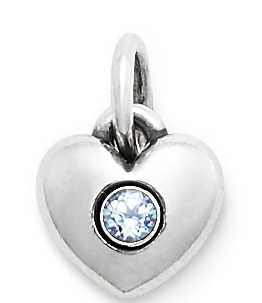 James Avery Keepsake Heart Charm March Birthstone with Lab-Created Aqua Spinel