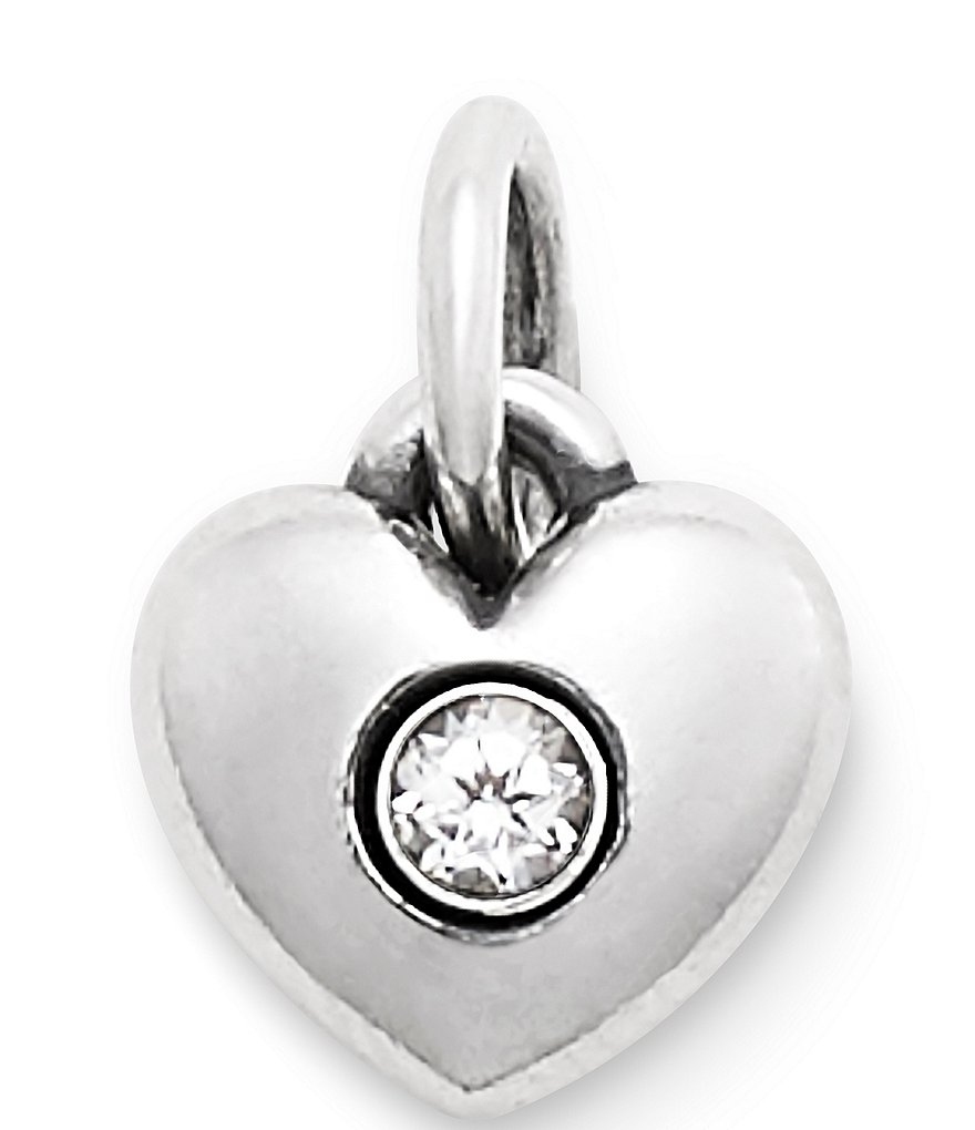 James Avery Keepsake Heart Charm April Birthstone with Lab-Created White Sapphire