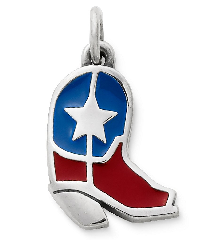 James Avery Lone Star Boot Enamel Sterling Silver Charm