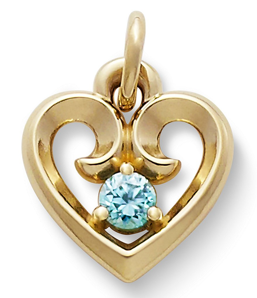 James Avery Remembrance Heart Pendant with Blue Zircon
