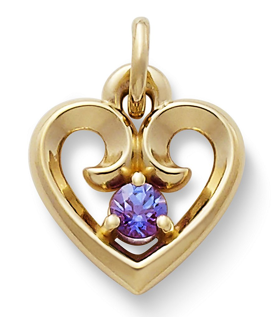 James Avery Remembrance Heart Pendant with Lab-Created Alexandrite
