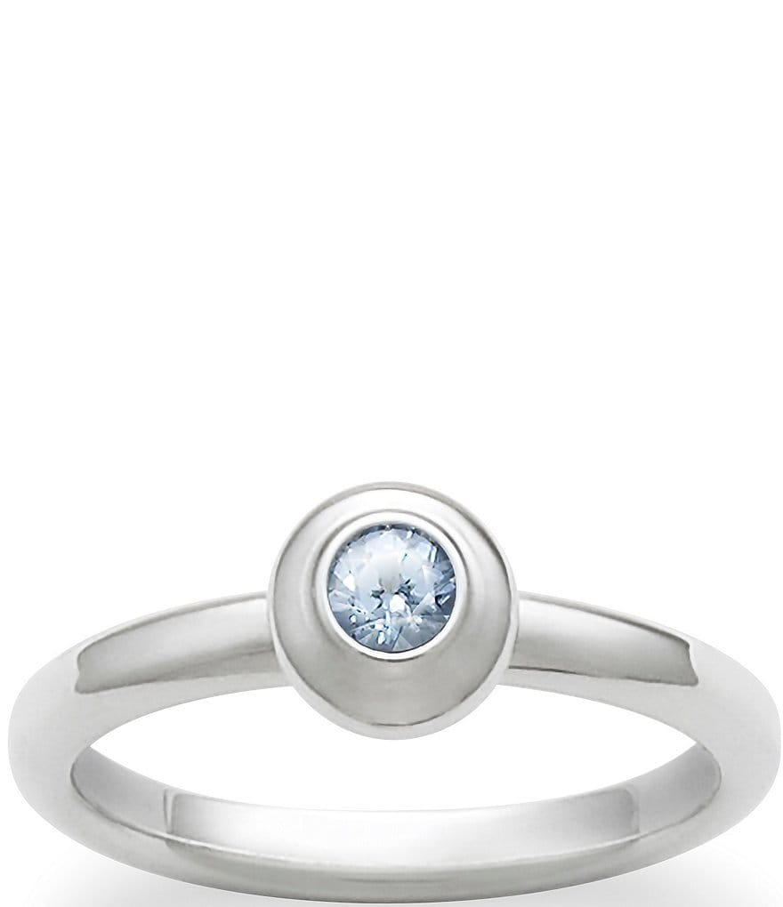 James Avery Remembrance Ring March Birthstone with Lab-Created Aqua Spinel