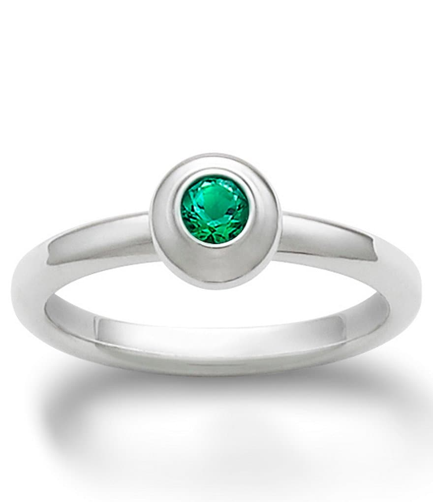 James Avery Remembrance Ring May Birthstone with Lab-Created Emerald