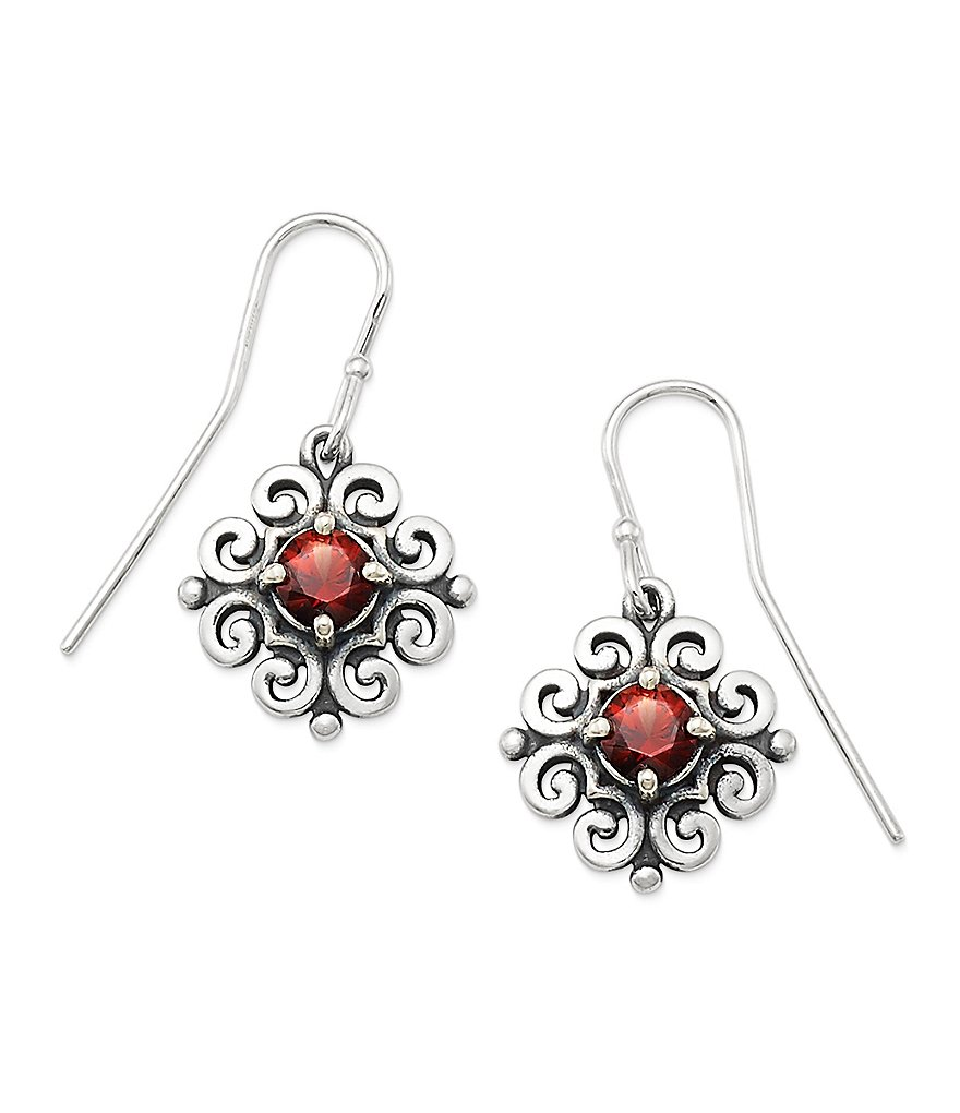 James Avery Scrolled Ear Hooks with January Birthstone