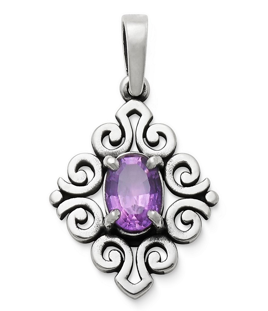 James Avery February Birthstone Amethyst Scrolled Pendant