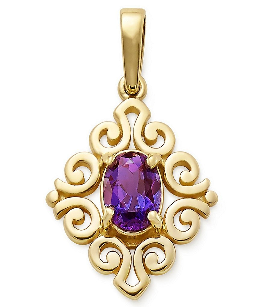 James Avery 14K Gold June Birthstone Scrolled Pendant