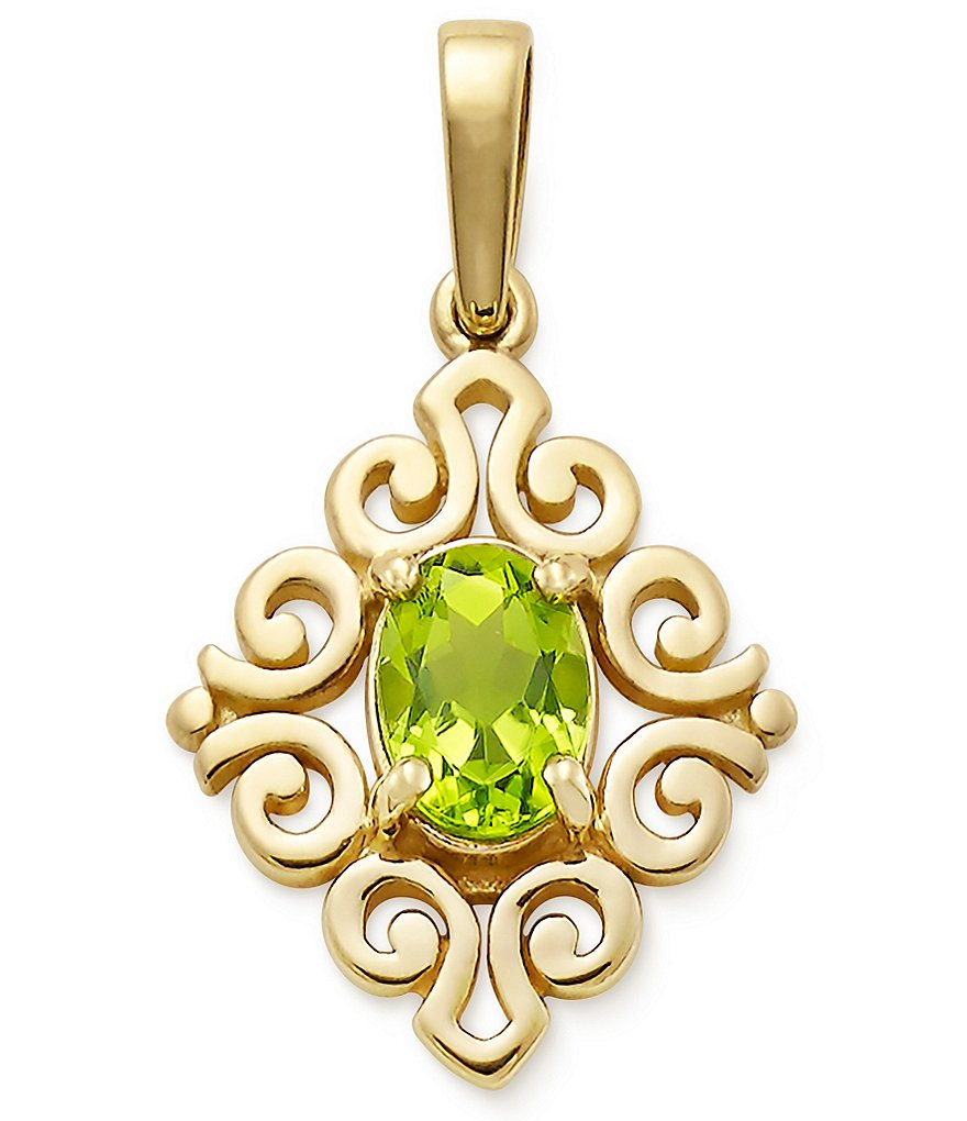 James Avery 14K Gold August Birthstone Scrolled Pendant