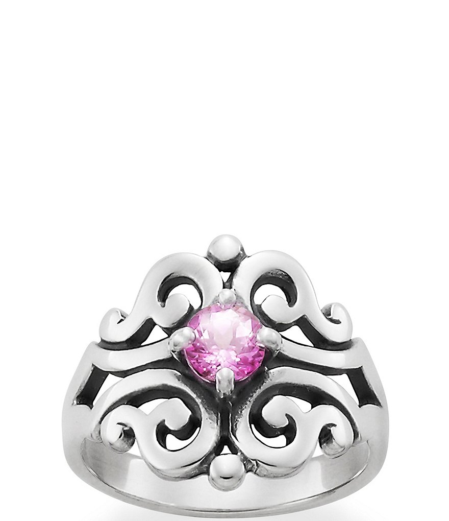 James Avery Spanish Lace Ring October Birthstone with Lab-Created Pink Sapphire