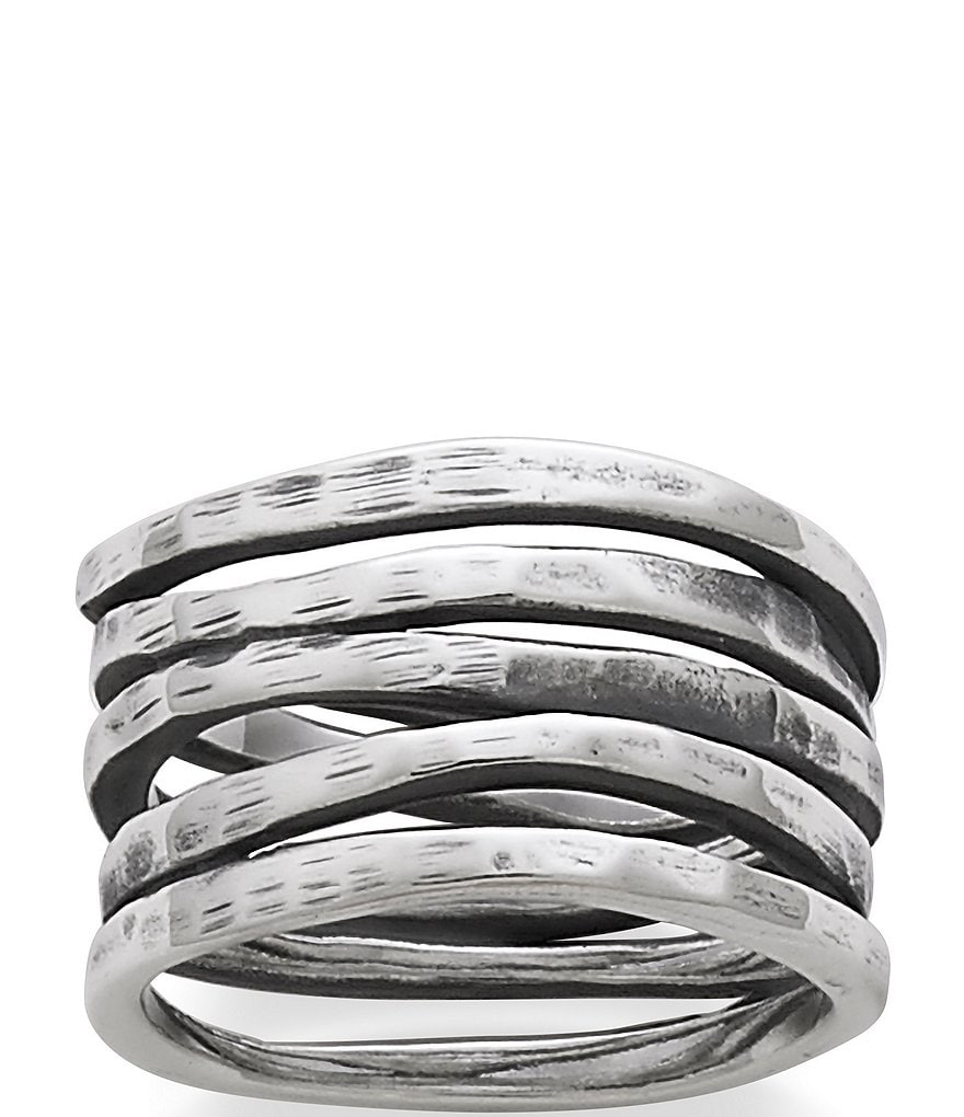 James Avery Stacked Sterling Silver Hammered Ring