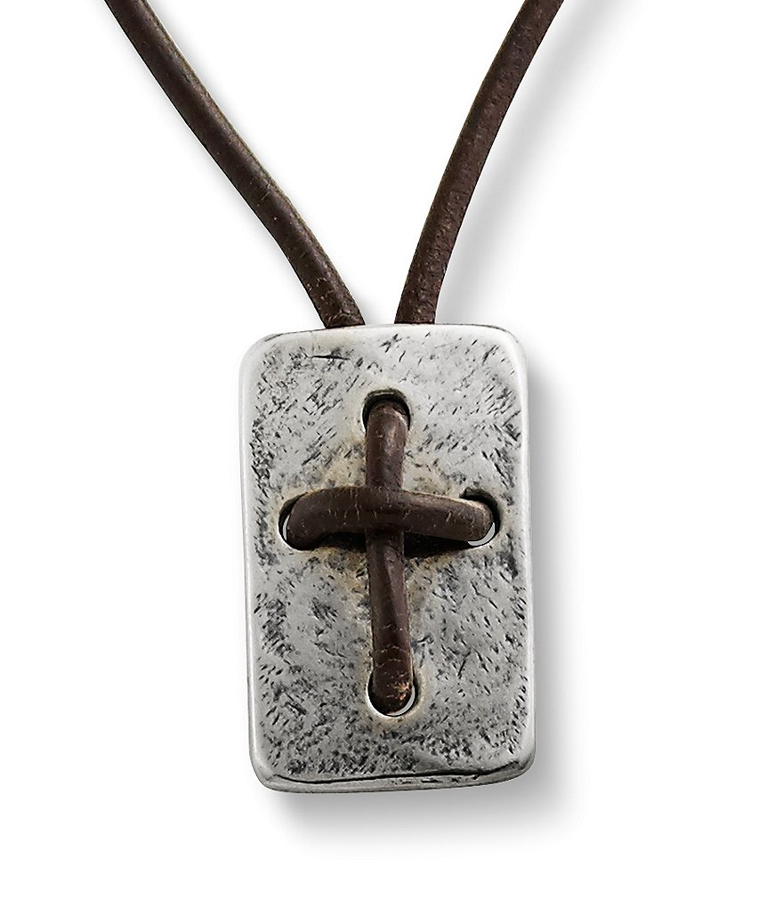 James Avery Sterling Silver Hand Knotted Leather Cross Shield Necklace
