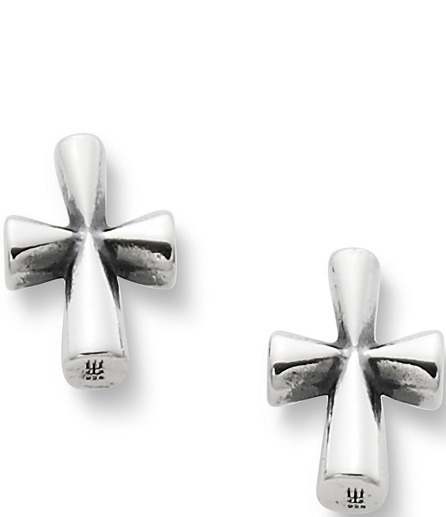 James Avery Sterling Silver St. Teresa Cross Stud Earrings