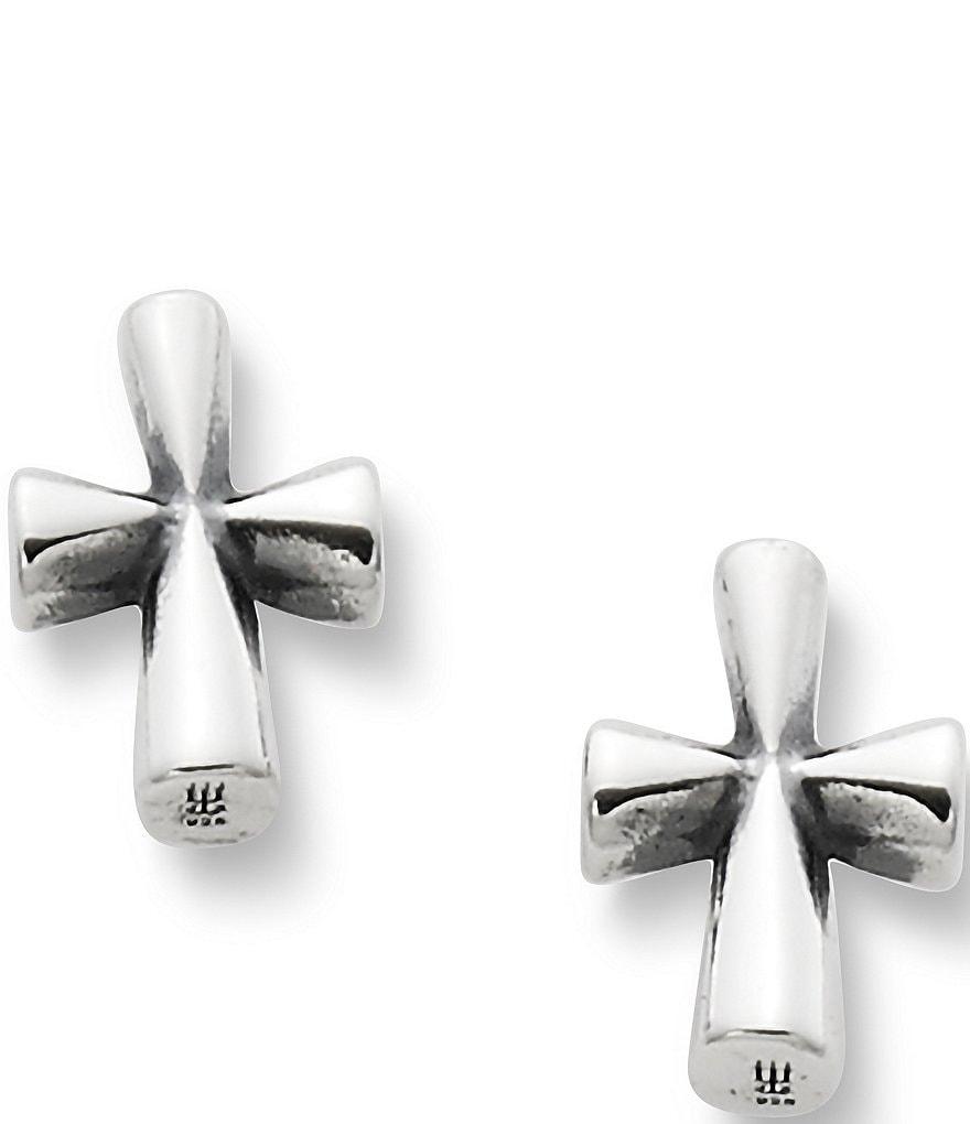 James Avery Sterling Silver St Teresa Cross Stud Earrings