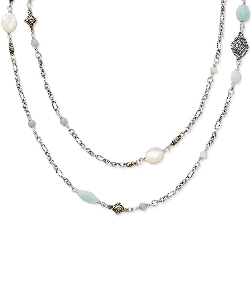 James Avery Tessares Necklace with Amazonite and Mother of Pearl