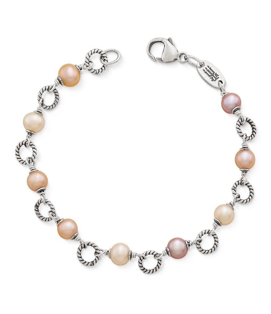 James Avery Twisted Wire Link Bracelet with Multi-Colored Cultured Pearls