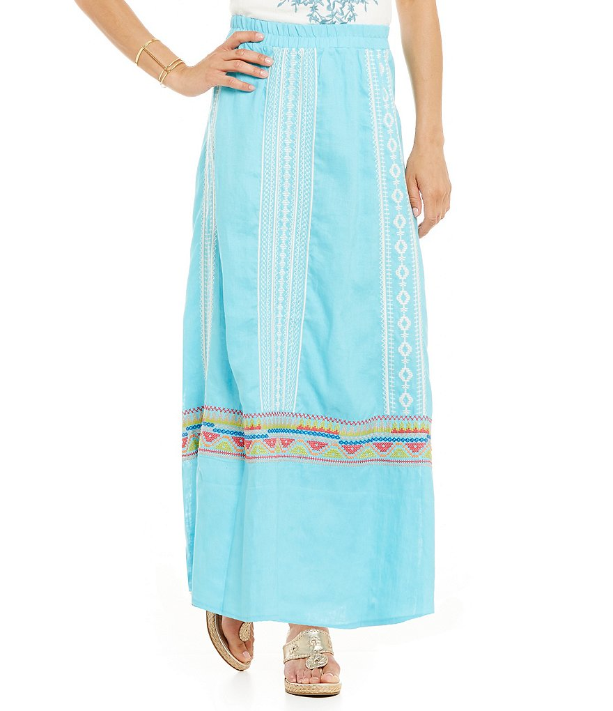 James Bryan Embroidered Maxi Skirt