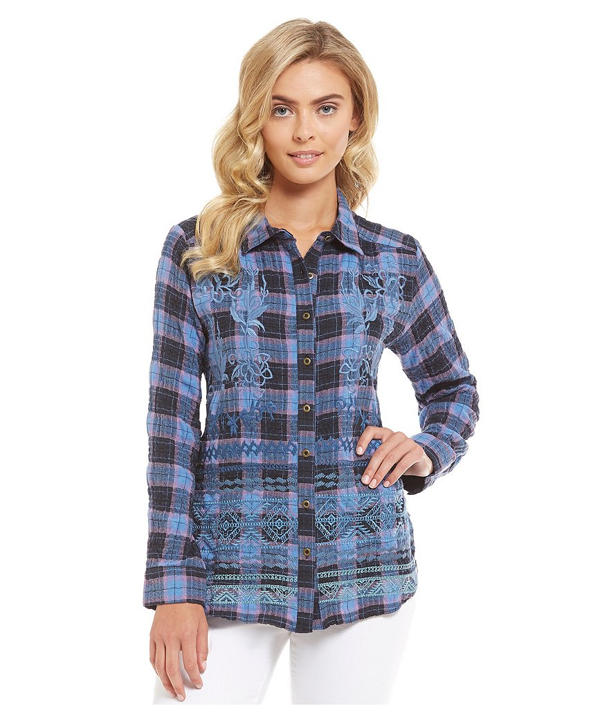 James Bryan Embroidered Plaid Blouse
